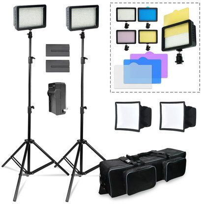 Photo Studio 2pack 216 LED Dimmable Photo Camera Camcorder Video Light Kit