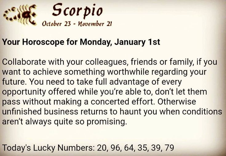 Happy New Year #Scorpio  Have a coffee and get ready to make your DAY better with DAILY HOROSCOPE this #Monday #January1.  #goodmorning #ready #day #love #coffee #today #daily #zodiac #horoscope #dailyhoroscope #lovehoroscope #lovelife #astrology #star #stars #constellation #zodiacsign #zodiacsigns #happy #lucky #life #inspiration #motivation #luckynumbers #numbers #HappyNewYear #numerology
