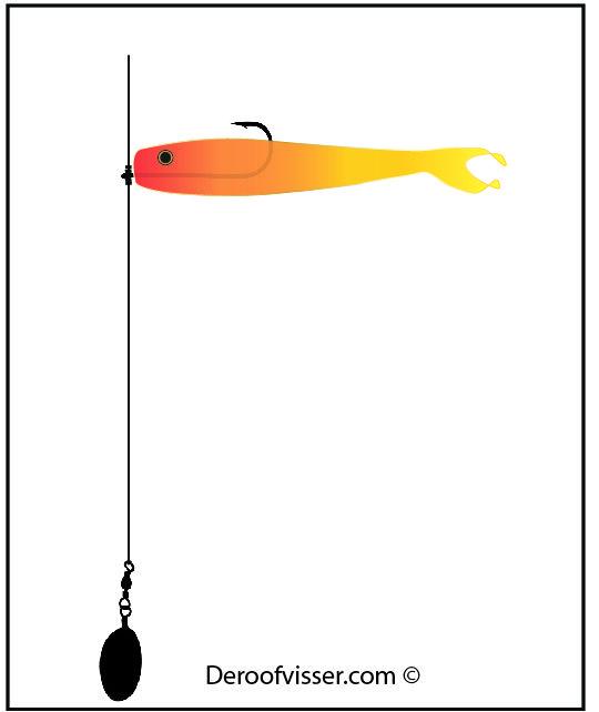 Dropshot vissen is sterk in opkomst. Je vangt er mooie baars en snoekbaars mee. De illustratie laat zien hoe een montage voor dropshot vissen er uit ziet. Wil je meer tips over dropshot vissen of het vissen op roofvis in het algemeen? Bezoek dan onze website eens https://www.deroofvisser.com/
