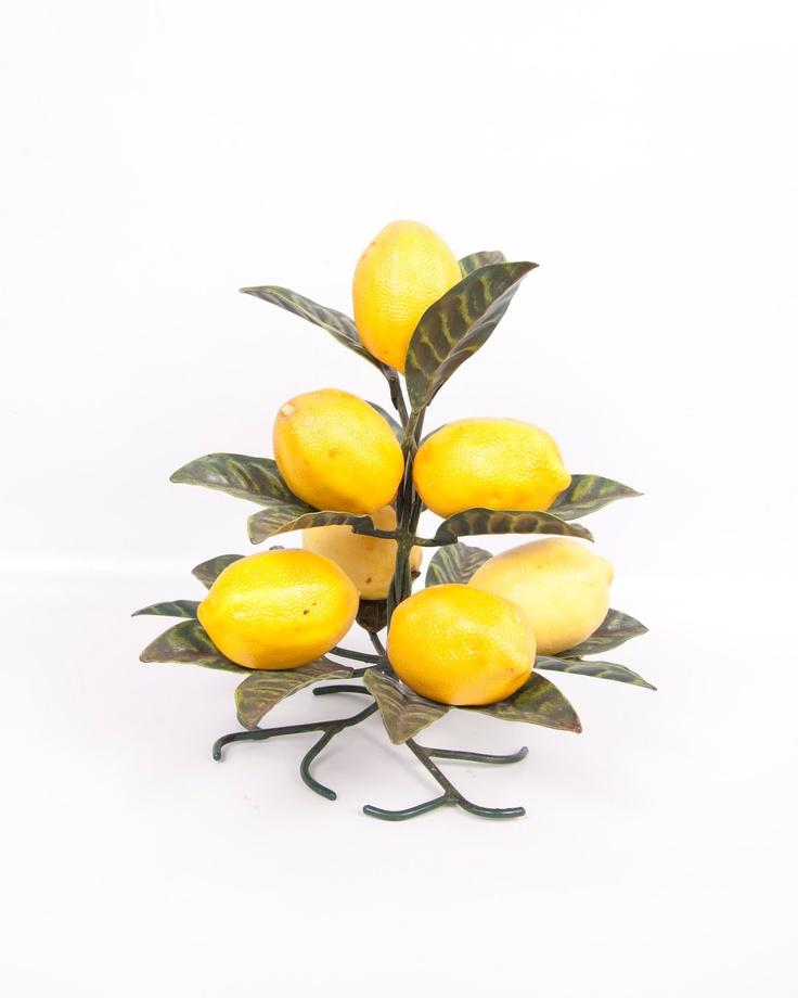 Vintage Lemon Tree Metal Lemon Holder Green Leaves Yellow Plastic