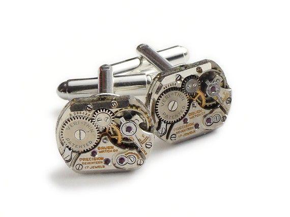 Steampunk cufflinks Rare vintage Gruen watch by steampunknation, $89.00