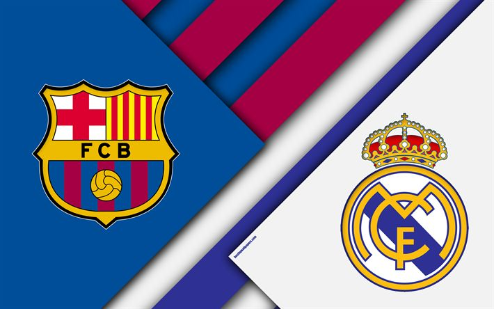 Download wallpapers FC Barcelona vs Real Madrid, el clasico, 4k, logos, emblems, Spain standings, football, La Liga, Spain, Barcelona, Real Madrid
