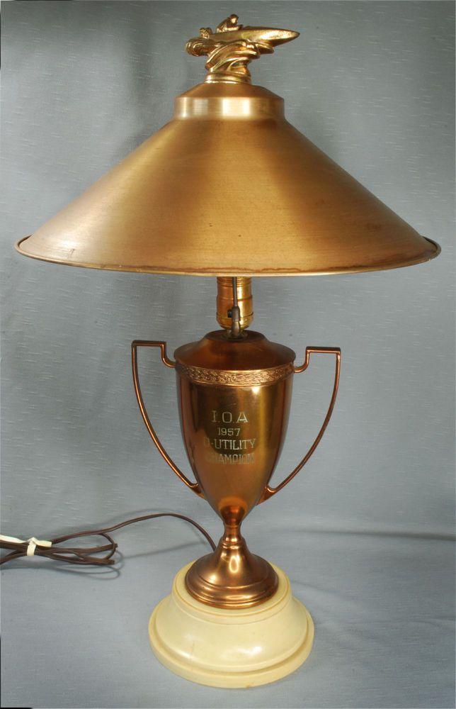 Vintage 1957 Speedboat Indiana Outboard Association Racing Lamp Trophy D Utility Lamp Novelty Lamp Trophy