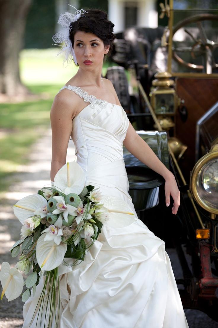 The Purple Pansy Flower Boutique A Gorgeous Cascade Wedding Bouquet Of White Anthurium