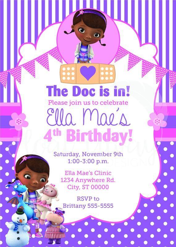 Doc Mcstuffins Birthday Invitation Etsy Doc Mcstuffin Invitations Doc Mcstuffins Birthday Birthday Invitations