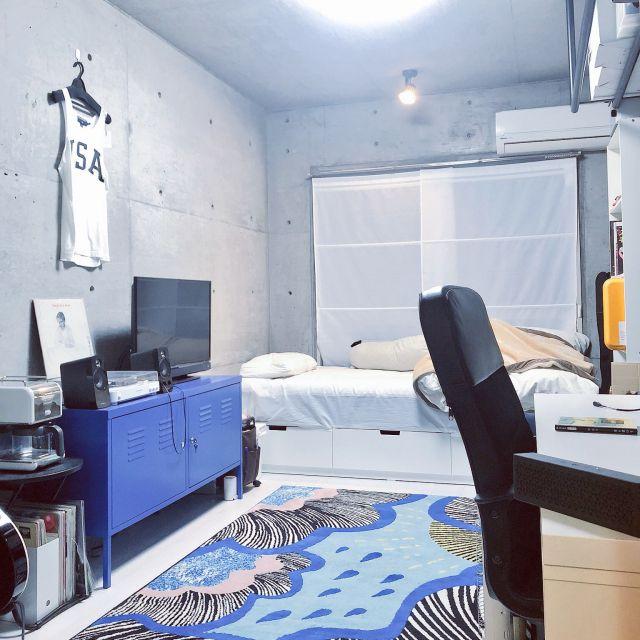 部屋全体 ワンルーム 狭い ワンルーム 6畳 コンクリート打ちっ放し などのインテリア実例 2018 11 16 11 27 22 Roomclip ルームクリップ インテリア 部屋 部屋 レイアウト ワンルーム