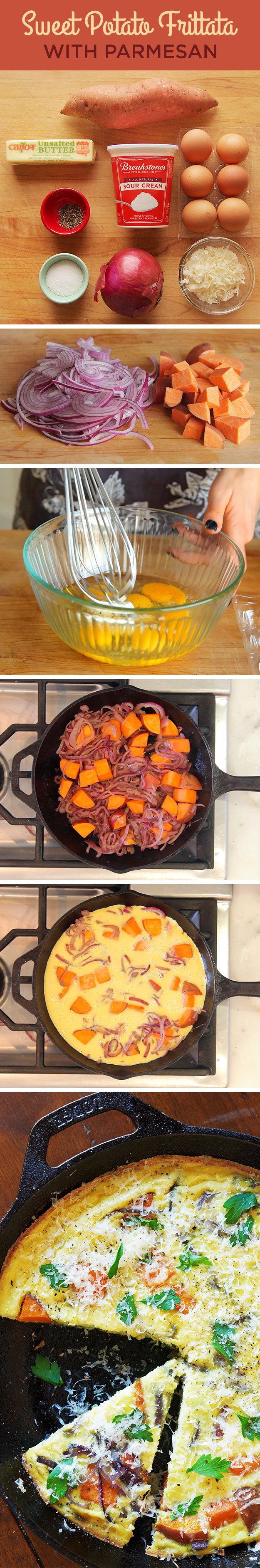 Skillet Sweet Potato Frittata with Parmesan