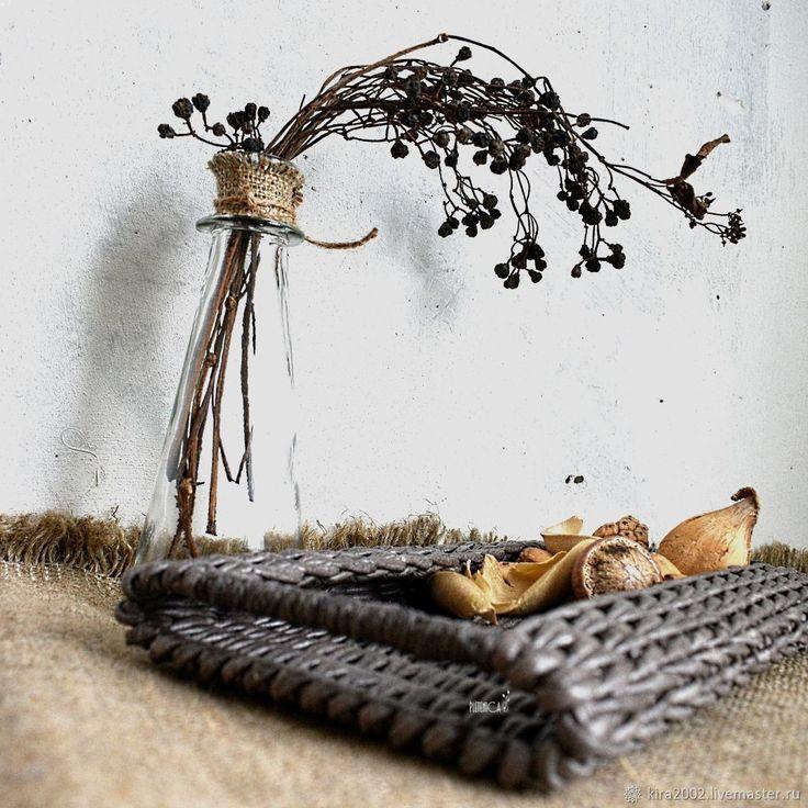 """Купить Плетеный поднос """"Очаровательный Винтаж"""", серый - винтаж, кухонная утварь, поднос, серый, стильный"""