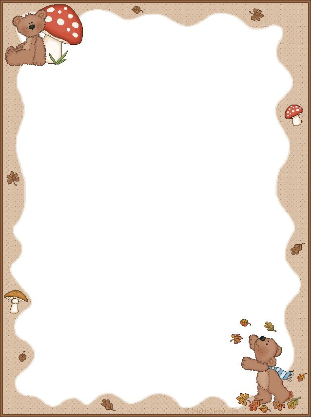 Stationery - note paper - fall bears, mushrooms www. graphicgarden.com