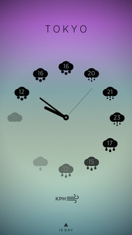 Love this app. Climate Clock, simple, clean and gorgeous UI. Just the way it should be! https://itunes.apple.com/us/app/mweather-simple-hourly-10/id586030399?mt=8#