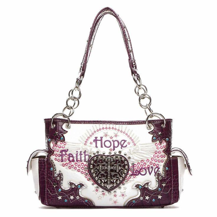 Faith Hope Love Western Cross Shoulder Bag [FHL38469 PURPLE]