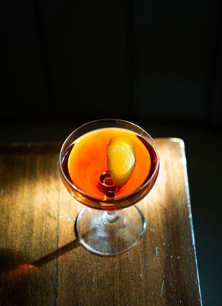 Emotional Rescue 1 1/2 ounces rye, preferably Wild Turkey 3/4 ounce quinquina, preferably Kina L'Avion d'Or 3/4 ounces dry vermouth, preferably Dolin 1/2 teaspoon Cherry Heering 1/2 teaspoon maraschino liqueur, preferably Luxardo Garnish: orange twist