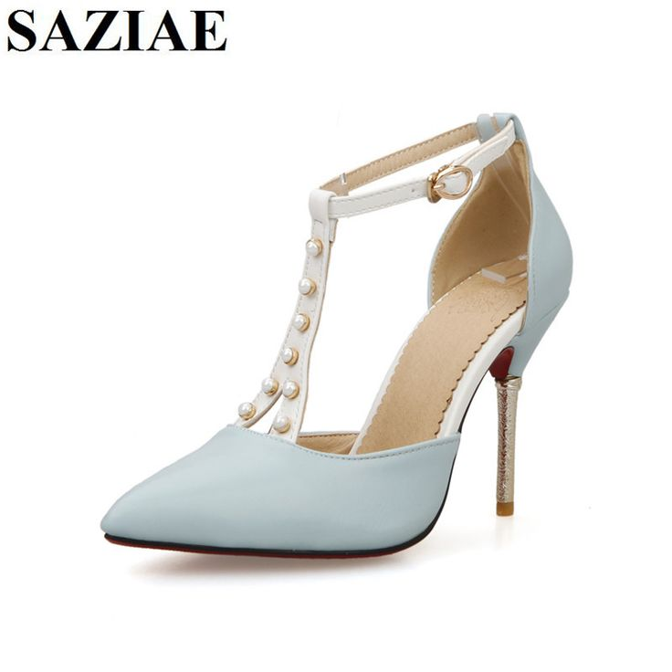 >> Click to Buy << [SAZIAE] 2017 summer new pointed toe high hells buckle solid color high-heeled shoes breathable and comfortable shoes for women  #Affiliate