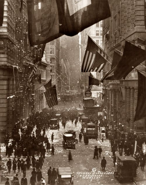 Celebration on Wall Street upon the news of Germany's surrender in World War I.    November 1918 (W.L. Drummond)