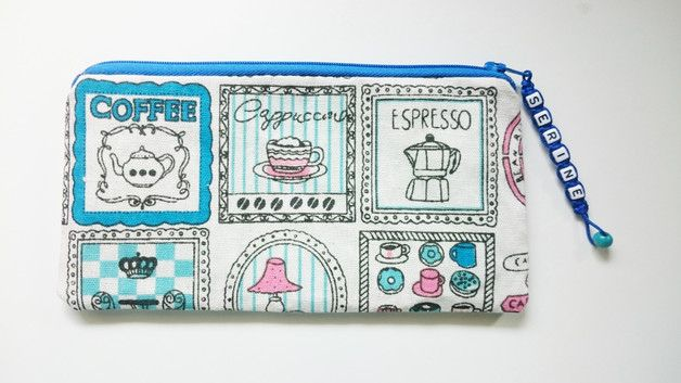 Pencil Case – Coffee Lover Fully Lined Pouch With Name – a unique product by gooseygoosey on DaWanda