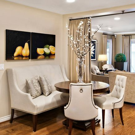A settee is the perfect seating to create a dining nook that has both style  and comfort. You'll love how it embraces you when dining--whether it's just  breakfast or that special dinner.  It expands the seating space, a  particular concern for apartment dwellers.        * Add a round table and
