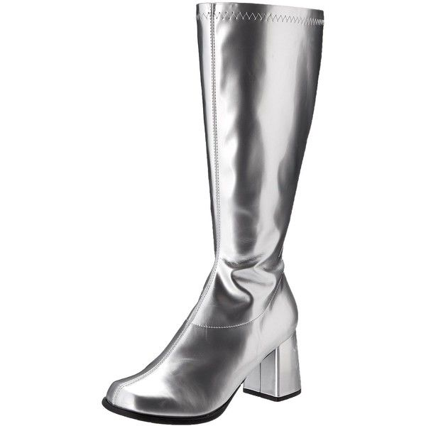 Amazon.com: Ellie Shoes Women's Gogo Rain Boot, Silver, 6 M US: Shoes ($38) ❤ liked on Polyvore featuring shoes, boots, ellie shoes, wellington boots, silver boots, wellies shoes and rubber boots