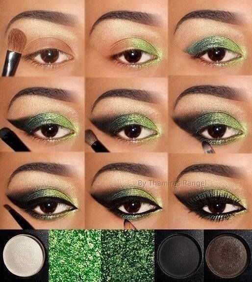 Eyes - Dark Naturals With Green Glitter Accents