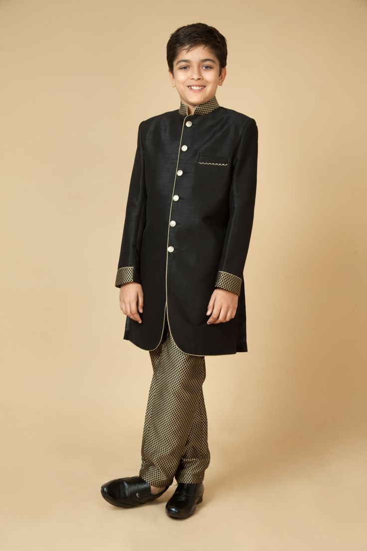 Rawsilk Indowestern sherwani with jacquard pants. Item number KB15-06
