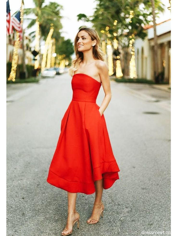 Great Classic Red Homecoming Dresses,Strapless Tea Length Sleeveless Prom Dress · Sof…