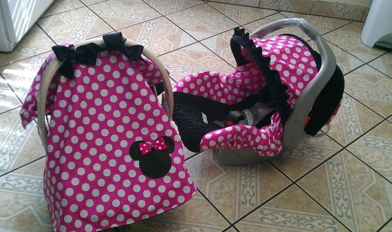 Minnie Mouse inspired canopy and car seat set