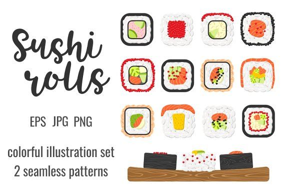 Set and patterns of sushi rolls by primula on @creativemarket