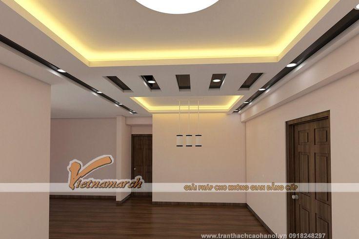 Thiết kế trần thạch cao phòng khách và phòng bếp cho nhà anh Dũng