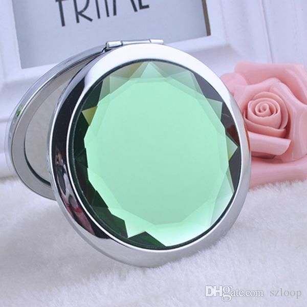 Engraved Cosmetic Compact Mirror Crystal Magnifying Make Up Mirror Wedding Gift for Guests
