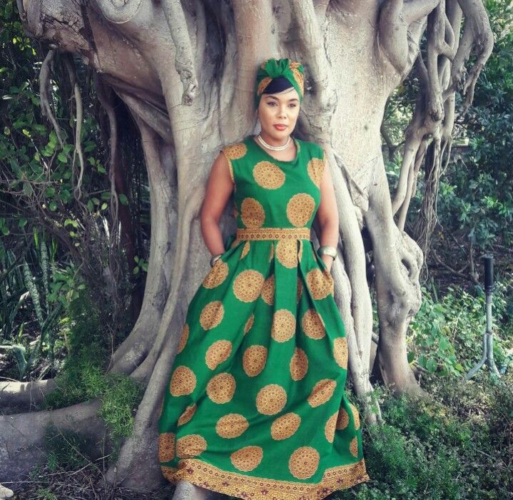 Green and beige African print dress and headwrap by CutureCut