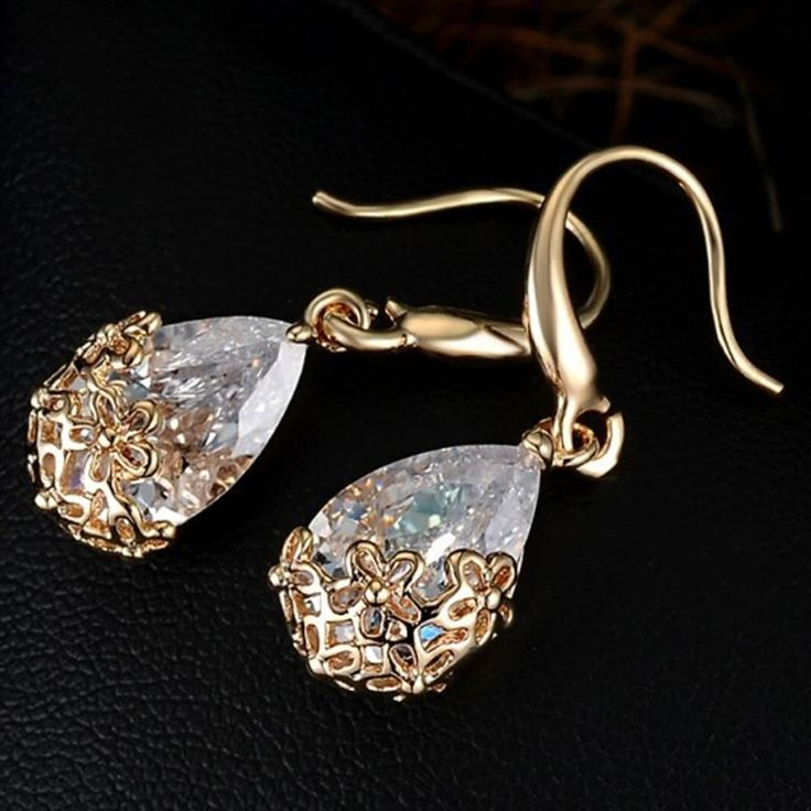 Wedding Crystal Zircon Dangle Earring for Women Elegant Classic Sales Online gold - Tomtop.com