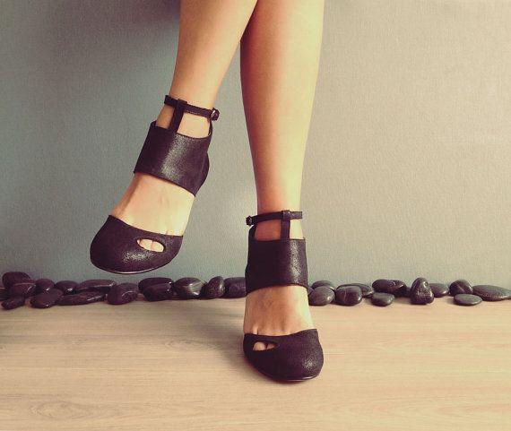 Cecile envío gratis - negro - zapatos de cuero hechos a mano con precio de venta de verano
