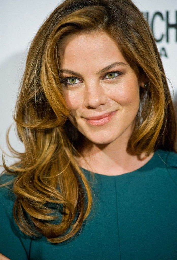 Balayage highlights on Michelle Monaghan by Corey Powell @ Sally Hershberger Los Angeles