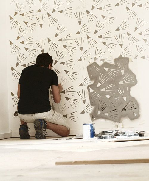 Windy Day  Modern large Scandinavian wall stencil for by StenCilit