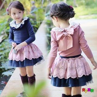 Cuckoo Kids Set: Lace T-Shirt + Lace Skirt Blue Top - Skirt - Blue