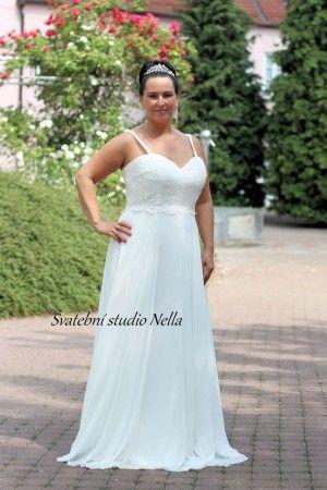Wedding Dresses White Boho Dress Plus size - Bílé dlouhé splývavé svatební  šaty pro plnoštíhlé -Svatební studio Nella 609d6da86f