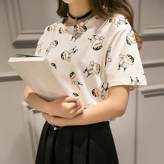 Alibaba グループ | AliExpress.comの Tシャツ からの   中の 原宿アニメトトロプリントルーズtシャツの女性2016新しい夏かわいいパンダ半袖グラフィックファムティートップスcamisetas mujer