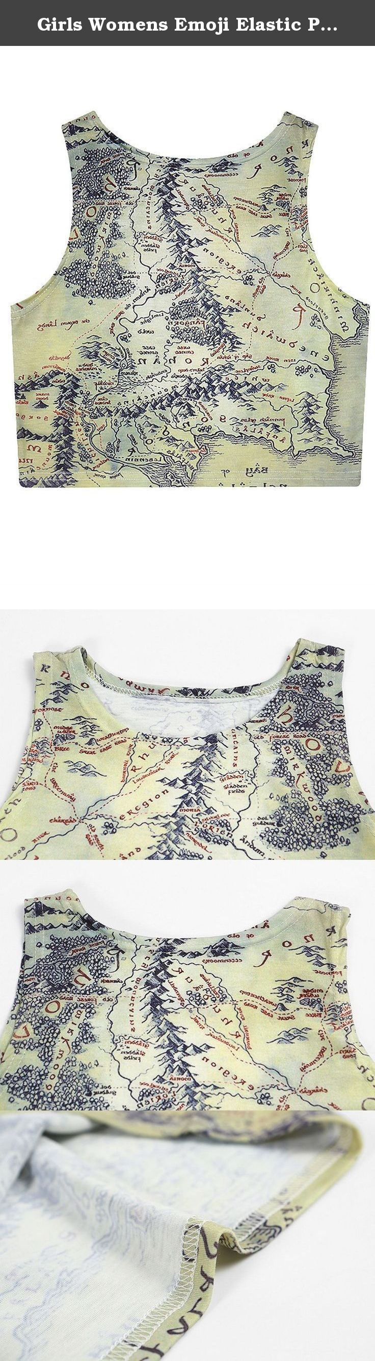 Girls Womens Emoji Elastic Printed Backless Camis Crop Top Map. Girls Teens Womens Summer Emoji Cute Printed Crop Vest Tank Tops High Quality, 100% Brand New Material:Polyester,Spandex Size: One size fit US 0-6. Bust--27.5 inch ,Length--14.5 inch Gender: Women, Lady, Girl Clolthes Type: Halter neck Crop Tops Sleeve Type: Sleeveless Style: Sexy, Fashion, Cute Season: Summer Package Include: 1x top Only .