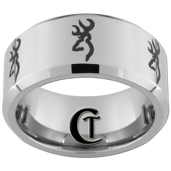 tungsten band 10mm beveled browning design ring by