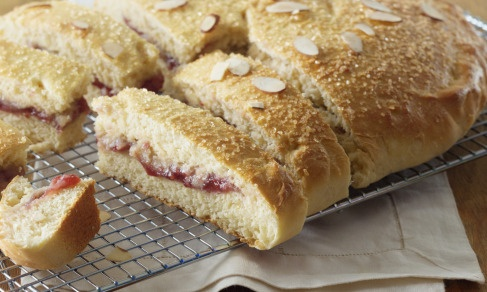 Raspberry Easter Bread, filling is raspberry jam & almond paste. Maybe ...