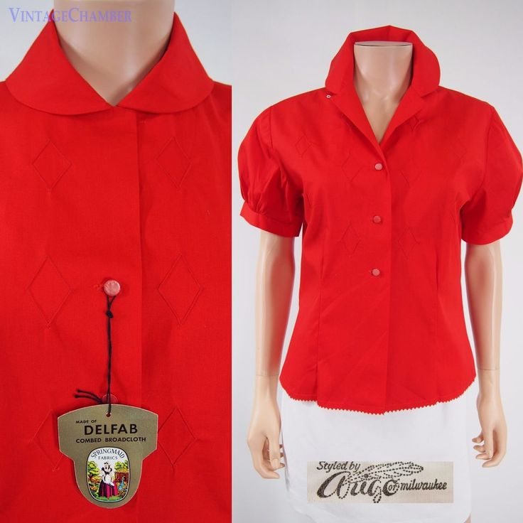 Authentic Vtg 50s Vivid Red Cotton Puff Sleeve Blouse Top Rockabilly Shirt NOS M #ArigoofMilwaukee #Casual