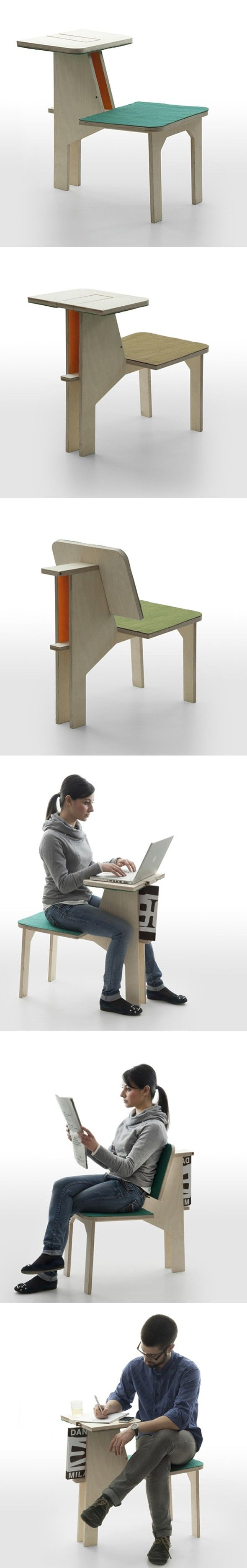 Une chaise bien pratique pour de multiples fonctions. Le designer français Matali Crasset présentera cette chaise à Milan le mois prochain pour la marque i