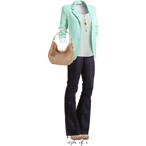"""Mint Blazer"" by styleofe on Polyvore"