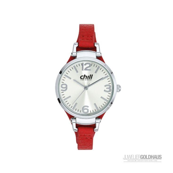 CHILL Damen Uhr mit Silber Metallgehäuse und...