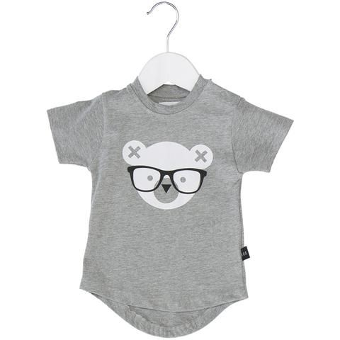 Nerd Bear Drop Back Tee Grey Marle
