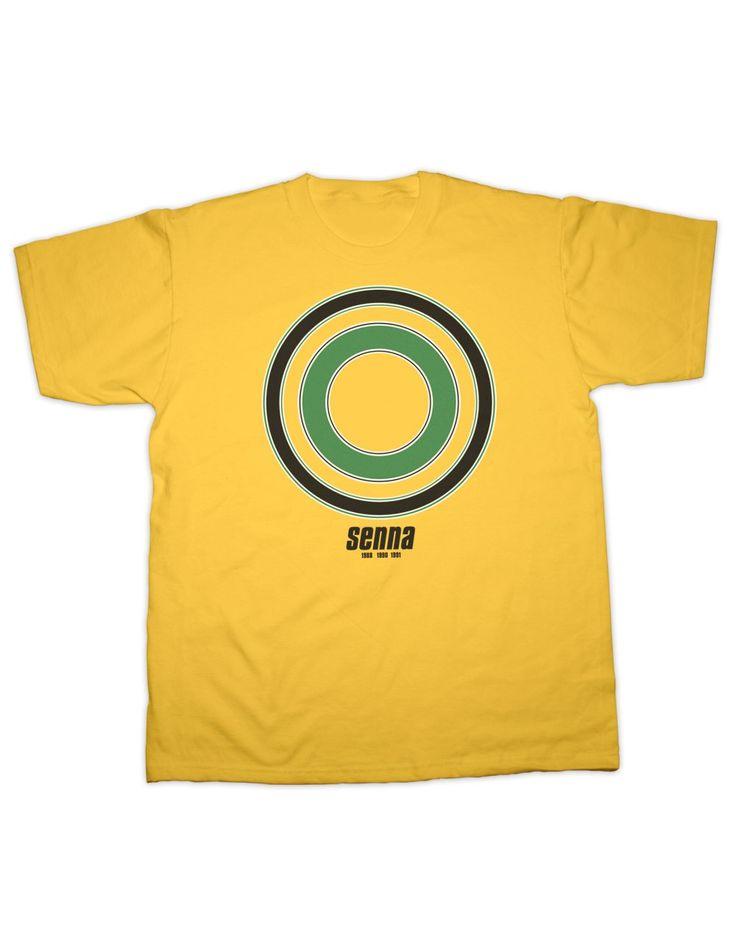 Ayrton Senna Racing Helmet Insigna T-Shirt - Yellow