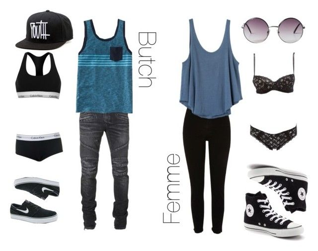 """""""Butch and Femme"""" by mayaauch on Polyvore featuring Balmain, Old Navy, Topshop, Calvin Klein, NIKE, River Island, RVCA, Converse, Charlotte Russe and Monki"""