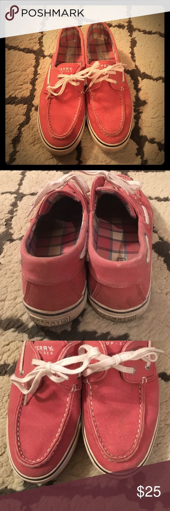 Sperry canvas bait shoe! Canvas salmon color Sperry boat shoe. Has some signs of wear pictured in the second and third photo. Probably could be wiped off but I'm trying to clean out my closet! Sperry Top-Sider Shoes Flats & Loafers