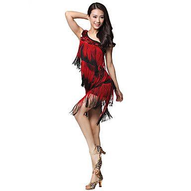Dancewear Viscose Latin Dance One-Shoulder Dress With Tassels For Ladies – GBP £ 38.27