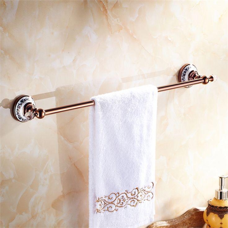 浴室タオルバー タオル掛け タオル収納 ハンガー バス用品 ローズゴールド 真鍮製 田舎風