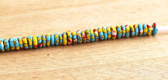 40 Spacer Beads Multicolor Doughnut beads Recycled by Krobobeads